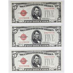 THREE 1928-C $5.00 U.S. NOTES