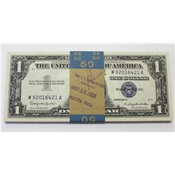 50 PCS. PACK 1957-B $1.00 SILVER CERTIFICATES