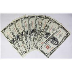 TEN $5.00 U.S. NOTES