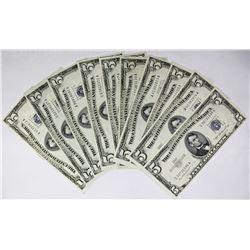 TEN 1953 $5.00 SILVER CERTIFICATES