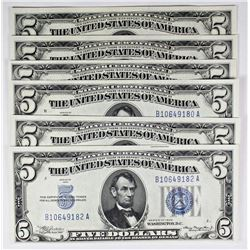 SIX 1934 $5.00 SILVER CERTIFICATES