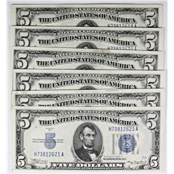 SIX 1934-A $5.00 SILVER CERTIFICATES