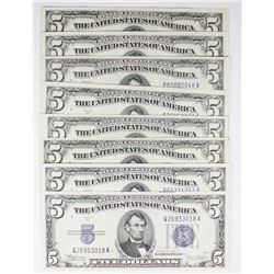 EIGHT 1934-C $5.00 SILVER CERTIFICATES
