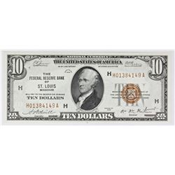 1929 $10.00 FEDERAL RESERVE BANK ST. LOUIS