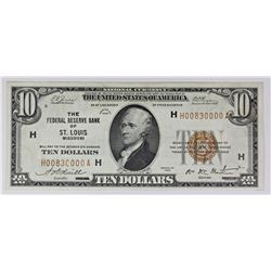 1929 $10.00 FEDERAL RESERVE NOTE ST. LOUIS