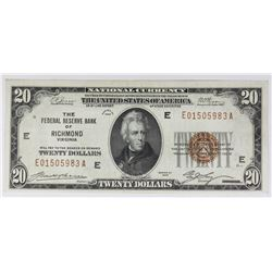1929 $20.00 FEDERAL RESERVE BANK