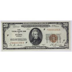 1929 $20.00 FEDERAL RESERVE BANK ATLANTA