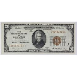 1929 $20.00 FEDERAL RESERVE NOTE MINNEAPOLIS