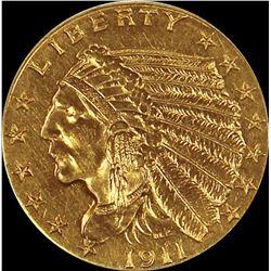"""1911-D """"STRONG D"""" $2.50 GOLD INDIAN"""