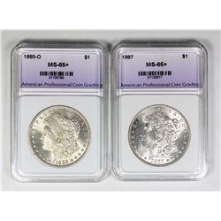 1885-O AND 1887 MORGAN SILVER DOLLARS