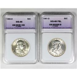 1961-D AND 1960-D FRANKLIN HALF DOLLARS