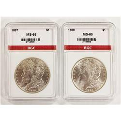 1887 AND 1888 MORGAN SIVLER DOLLARS