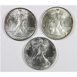 THREE 1994 AMERICAN SILVER EAGLES