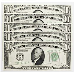 FIVE 1928-B $10.00 FEDERAL RESERVE NOTES CHICAGO