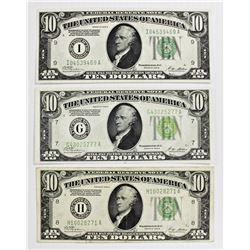 THREE 1928-B $10.00 FEDERAL RESERVE NOTES