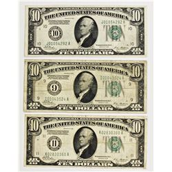 THREE 1928 $10.00 FEDERAL RESERVE NOTES