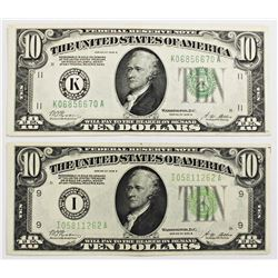 TWO 1928-B $10.00 FEDERAL RESERVE NOTES