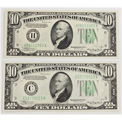 TWO 1934-A $10.00 FEDERAL RESERVE NOTE