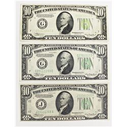 THREE $10.00 FEDERAL RESERVE NOTES