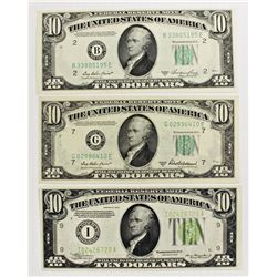THREE $10.00 FEDERAL RESERVE NOTES: