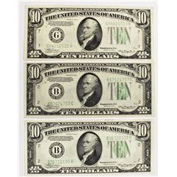 THREE 1934-A $10.00 FEDERAL RESERVE NOTES