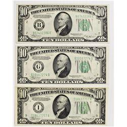 THREE $10.00 FEDERAL RESERVE CHOICE UNC