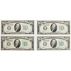 FOUR $10.00 FEDERAL RESERVE NOTE: 1934-B: