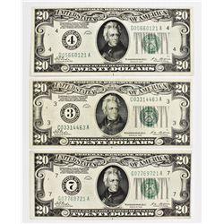 THREE 1928 $20.00 FEDERAL RESERVE NOTES