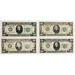 FOUR PCS. 1928 $20.00 FEDERAL RESERVE NOTES: