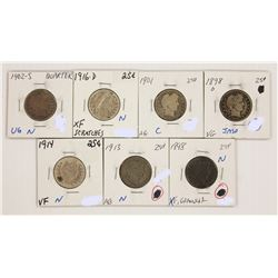 BARBER QUAARTER LOT: SEVEN COINS TOTAL