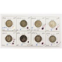BARBER QUARTER LOT: 8 COINS TOTAL: