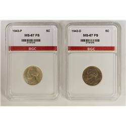 1943-P AND 1942-D JEFFERSON NICKELS: