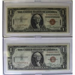TWO HAWAII 1935 A $1.00 SILVER CERTIFICATES