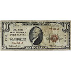 1929 $10.00 FT. WAYNE LINCOLN BANK $7725
