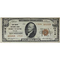 1929 $10.00 FT. WAYNE, IN. BANK #13818