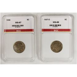 1936 AND 1937-D BUFFALO NICKELS