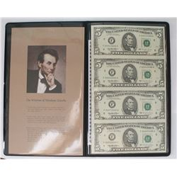 FOUR 1995 $5.00 FEDERAL RESERVE NOTES
