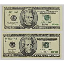 TWO 2001 $20.00 FEDERAL RESERVE STAR NOTES: