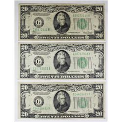3 PCS. 1934-C $20.00 FEDERAL RESERVE NOTES CHICAGO