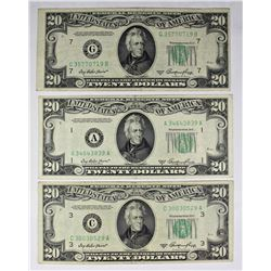 3 PCS. 1950-A $20.00 FEDERAL RESERVE NOTES: