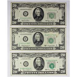 THREE $20.00 FEDERAL RESERVE NOTES: