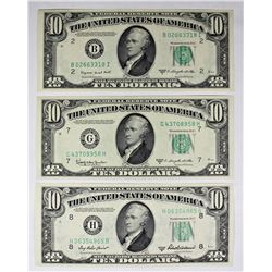 THREE PCS. $10.00 FEDERAL RESERVE NOTES
