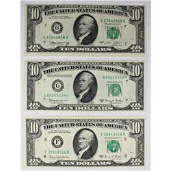THREE PCS. 10.00 FEDERAL RESERVE NOTES: