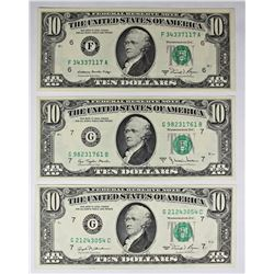 THREE PCS. GEM UNC $10.00 FEDERAL RESERVE NOTES: