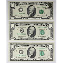 3 PCS. GEM UNC 1985 $10.00 FEDERAL RESERVE NOTES: