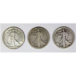 THREE WALKING LIBERTY HALF DOLLARS