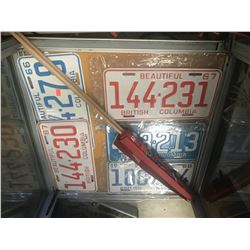 VINTAGE 1960S LICENCE PLATE COLLECTION & 3 ROYAL FAMILY FLAGS