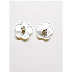14K DIAMOND (0.02CT) MOTHER OF PEARL  2 IN 1  EARRINGS
