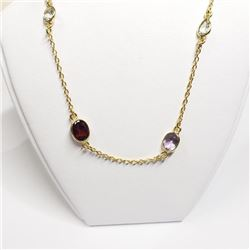 GOLD PLATED SILVER MULTI COLOR GEMSTONES NECKLACE