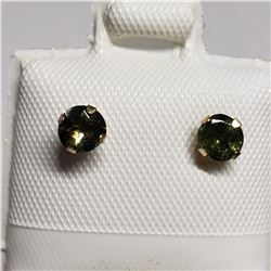 10K  GREEN TOURMALINE REVERSIBLE FRESHWATER PEARL EARRINGS
